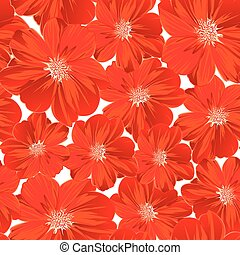 Small red flowers in a seamless pattern