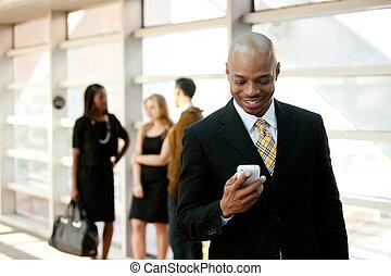 negócio, homem, esperto, telefone