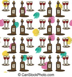 seamless cartoon pattern with wine and glasses