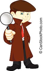 Cartoon Detective boy - vector illustration of Cartoon...