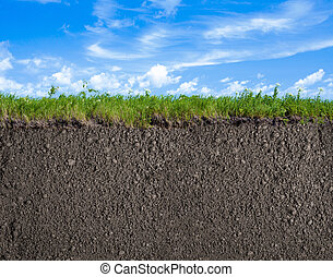 Soil, grass and sky nature background - Soil or ground,...
