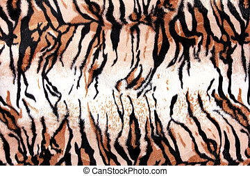 texture of print fabric striped tiger leather for background...