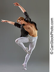 dancer - modern ballet dancer on grey background