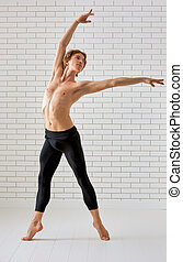 dancer - modern ballet dancer on white background