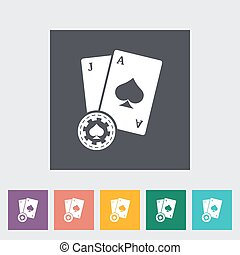 Blackjack Single flat icon on the button Vector illustration...