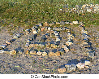 Stone labyrinth on Solovki - Stone labyrinth in the...