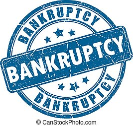 Bankruptcy stamp on white background