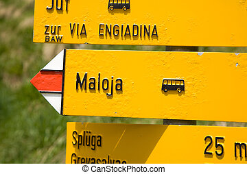 sign post of swiss hiking trails