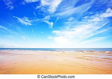 mar, e, azul, céu,