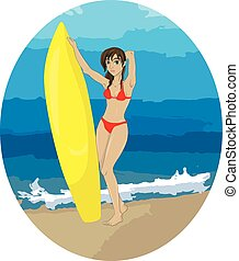 Surfer girl on the background of th