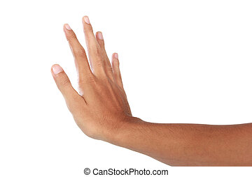 Hand showing push gesture, isolated in white background