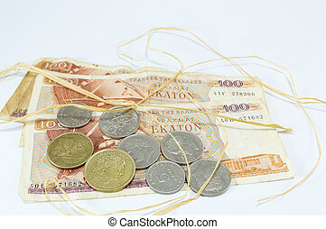 dracma, antigas, Grego, Palha, notas, moeda corrente