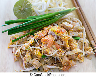 Phad thai Fried noodle with shrimp closeup