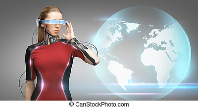 woman with futuristic glasses and sensors - people,...