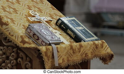 A Bible lying on the pulpit in a church
