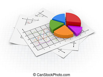 Business pie chart and documents