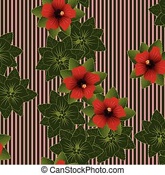 Hibiscus Pattern - Seamless pattern of Red flower of...