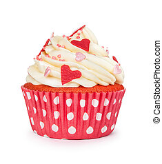 red cupcake with vanilla cream and colorful sprinkles...