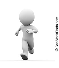 3d man running - 3d illustration of running man on white...