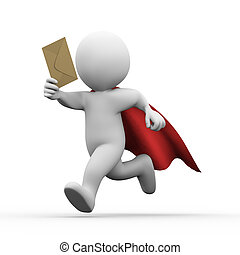 3d running super hero superman with email envelop - 3d...