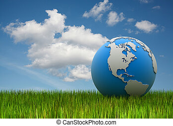 World map on grass , 3d rendered image