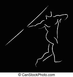 Javelin Throw - Simple graphic of a javelin throw athlete