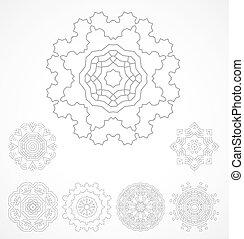 Set of geometric outline rosetta ornamet. Vector...