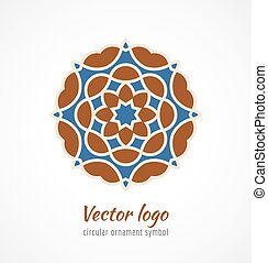 Abstract red and blue asian ornament symbol logo