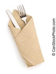 servilleta, tenedor, y, cuchillo, aislado, en, blanco,