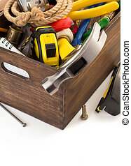 set of tools and instruments in toolbox