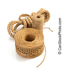 roll of twine cord and thread on white - roll of twine cord...
