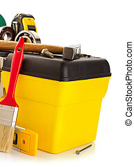 tools and instruments with toolbox on white