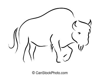 Bison - Simple line art of a bison