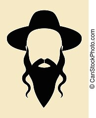 Rabbi - Simple graphic of a man with long beard wearing a...