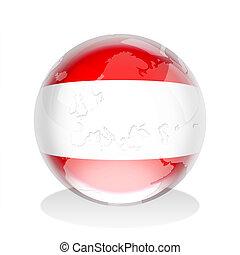 Austrian Flag Globe