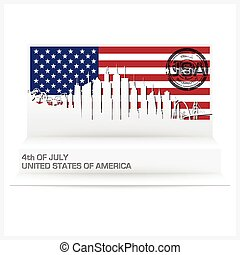 Fourth Of July Paper Pop Up Card Vector Design