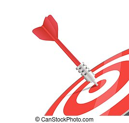 One red dart hitting the center of a target.