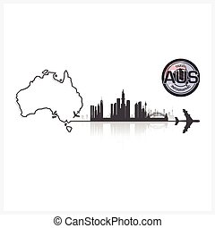 Commonwealth Of Australia Skyline Buildings Silhouette...