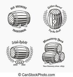 Set of vintage badge for beer house. Keg and drink, wooden...
