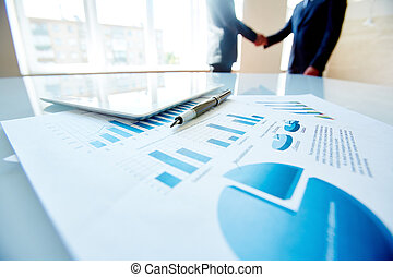 Business data - Business document, pen and digital tablet at...