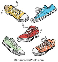 Sport shoes or sneakers icons in different views - Set of...