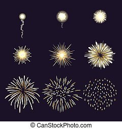 Animation of firework effect in cartoon comic style....
