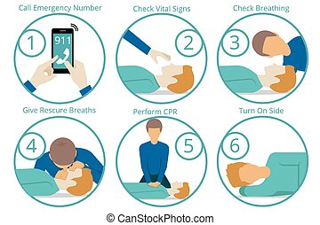 Emergency first aid cpr procedure. Health and medical, life...
