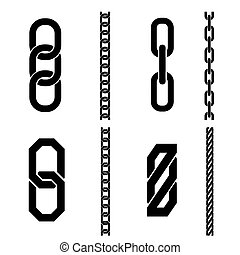 Chain parts vector icons and patterns Link connection,...