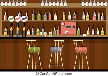 Bar interior in flat style design