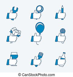 Set of vector thumbs up