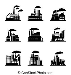 Factory and industrial building icons. Power plant, energy...