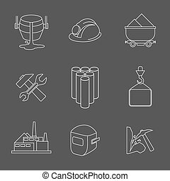 Vector set of heavy industry line icons Equipment and...
