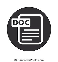 Monochrome round DOC file icon - Image of document page with...