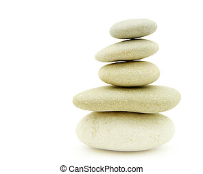 stone stack - Stack of balanced stones on a white background...